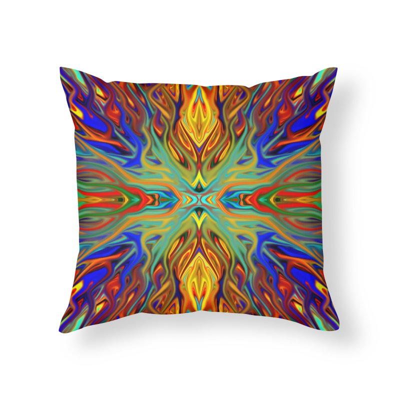 Fiesta Firegrass Quad 1 by Chris Sparks Home Throw Pillow by Chris Sparks' Abstract Art Shop