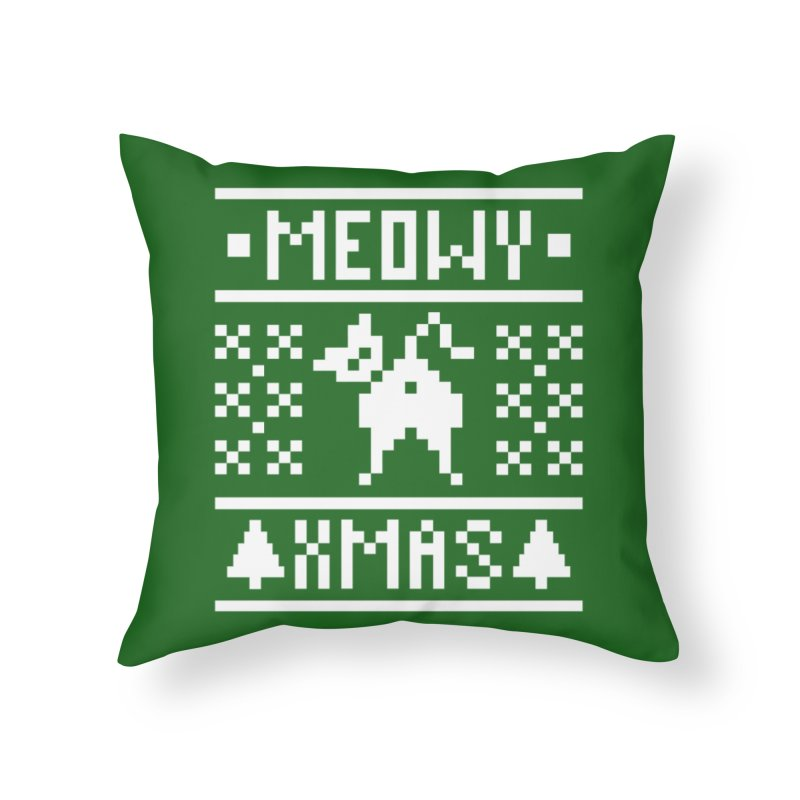 Meowy XMas Home Throw Pillow by Chris Talbot-Heindls' Artist Shop