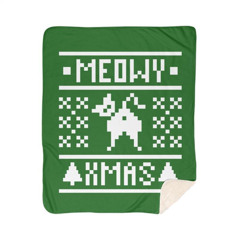 Meowy XMas Home Sherpa Blanket Blanket by Chris Talbot-Heindls' Artist Shop