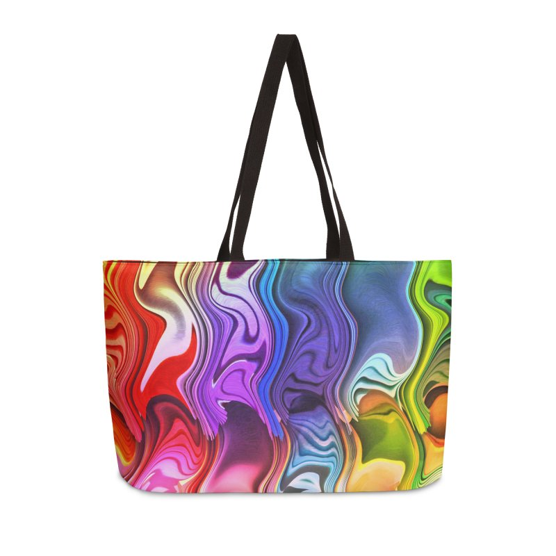 rainbow waves in Weekender Bag by Christian Rutz's Artist Shop