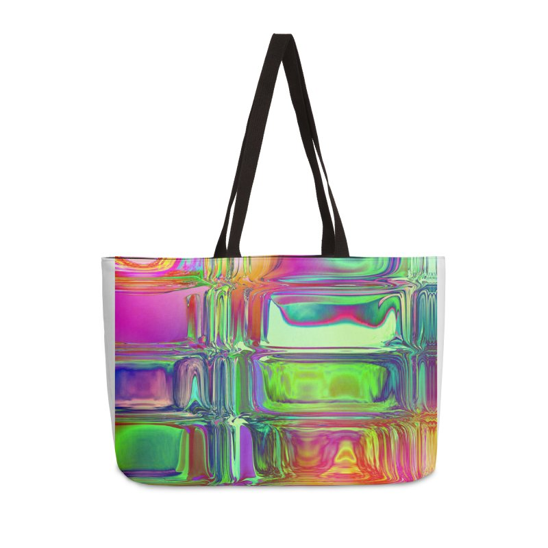 Solarized pink and green flow in Weekender Bag by Christian Rutz's Artist Shop