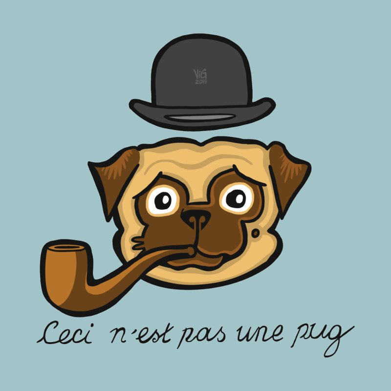 The Treachery of  Pugs (Ceci n'est pas une pug) Men's T-Shirt by CHRIS VIG'S SHIRTSTUFFS
