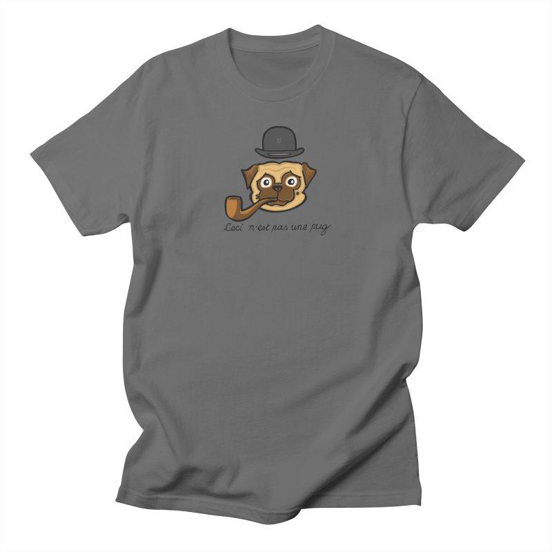 The Treachery of  Pugs (Ceci n'est pas une pug) Men's T-Shirt by CHRIS VIG'S SHIRTSTUFFS