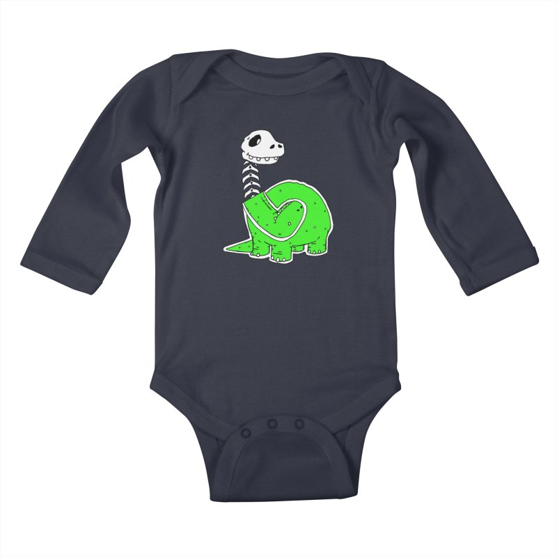 Cropped Dino Kids Baby Longsleeve Bodysuit by Chris Williams' Artist Shop