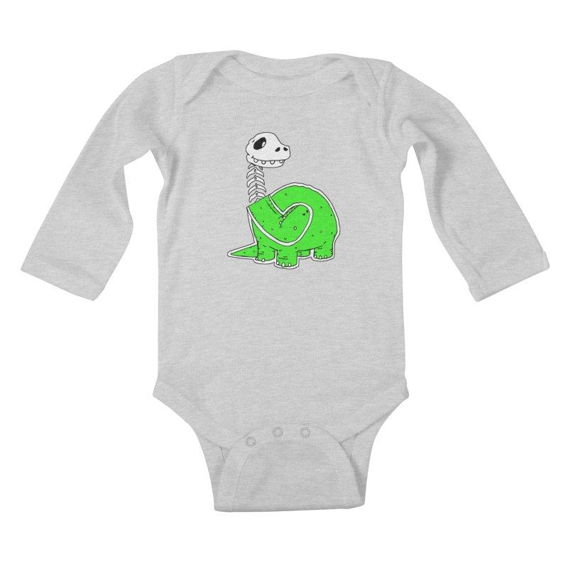 Cropped Dino Kids Baby Longsleeve Bodysuit by Chris Williams' Artist Shop