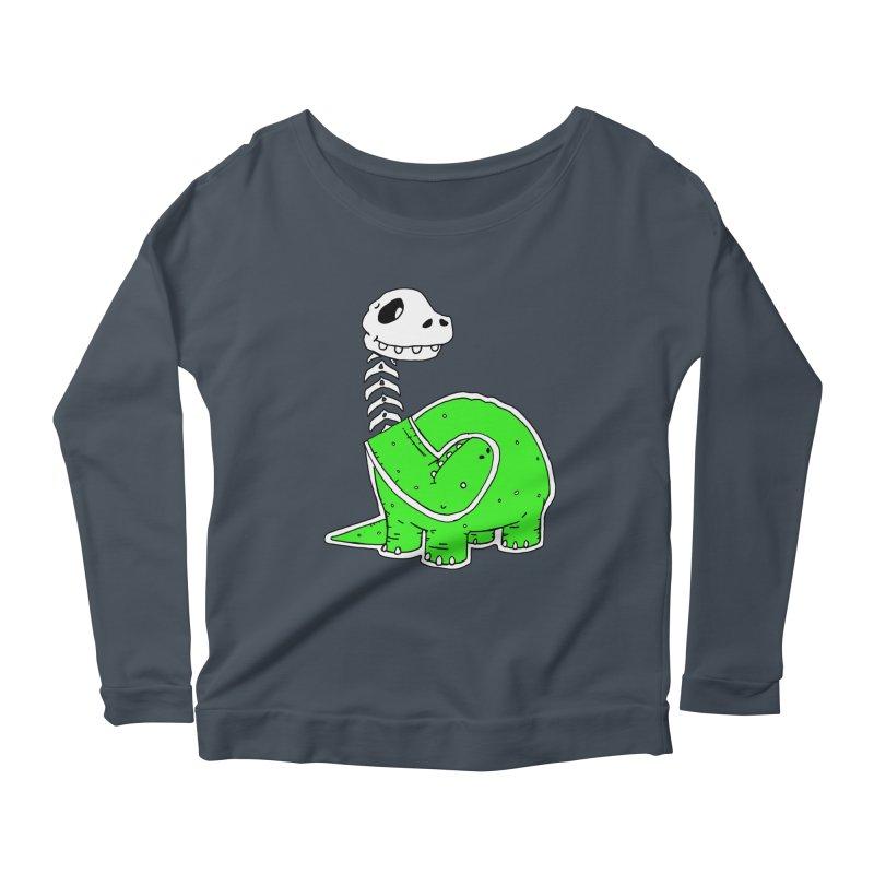 Cropped Dino Women's Scoop Neck Longsleeve T-Shirt by Chris Williams' Artist Shop