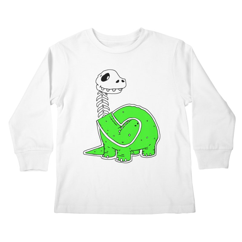 Cropped Dino Kids Longsleeve T-Shirt by Chris Williams' Artist Shop
