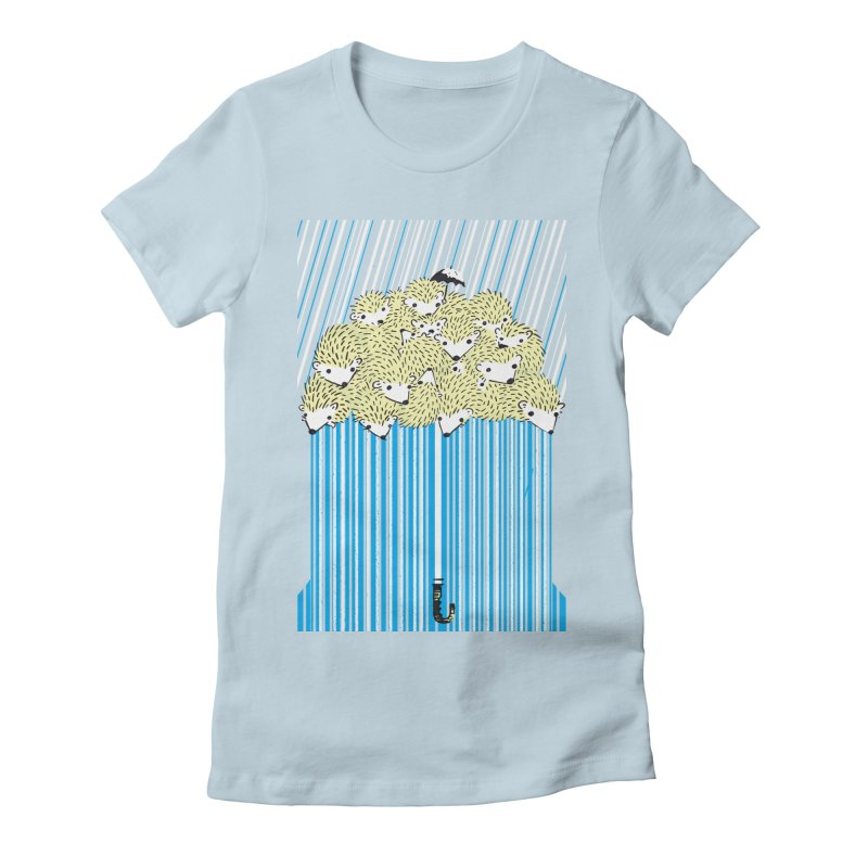 Hedgehog Umbrella Women's Fitted T-Shirt by Chris Williams' Artist Shop