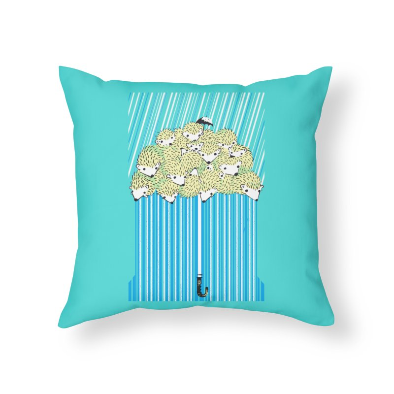 Hedgehog Umbrella Home Throw Pillow by Chris Williams' Artist Shop