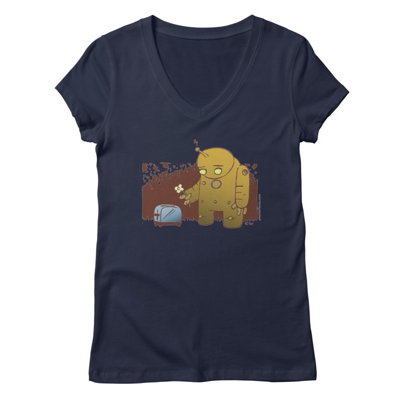 Sad Robot Women's V-Neck by Chris Williams' Artist Shop