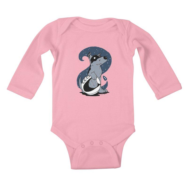 Laika, Spacedog Kids Baby Longsleeve Bodysuit by Chris Williams' Artist Shop