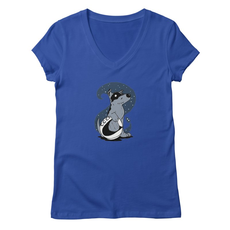 Laika, Spacedog Women's V-Neck by Chris Williams' Artist Shop