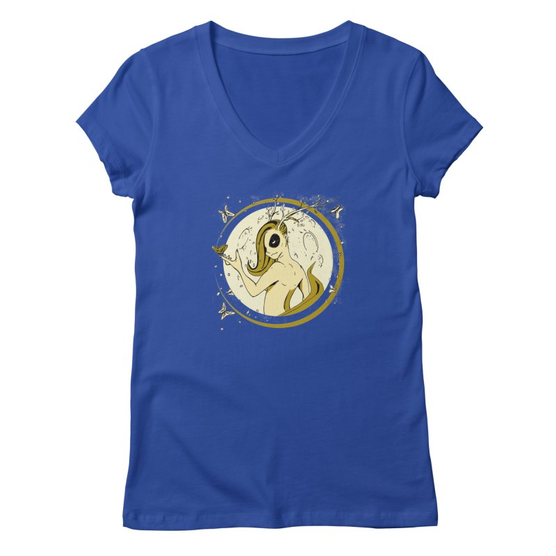 Nymph by the Moon Women's V-Neck by Chris Williams' Artist Shop