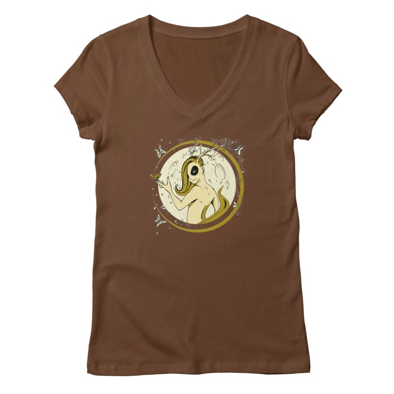 Nymph by the Moon Women's Regular V-Neck by Chris Williams' Artist Shop