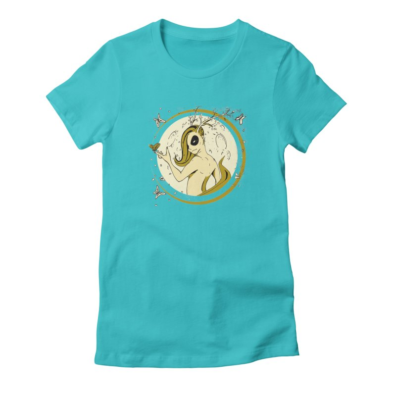 Nymph by the Moon Women's Fitted T-Shirt by Chris Williams' Artist Shop