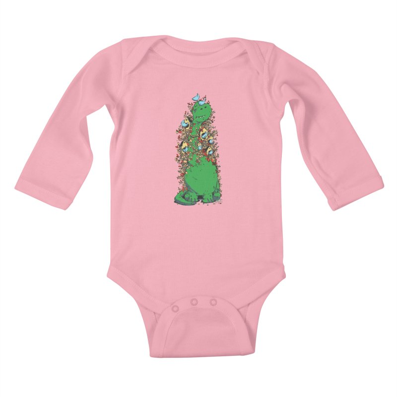 Dino Tree Kids Baby Longsleeve Bodysuit by Chris Williams' Artist Shop