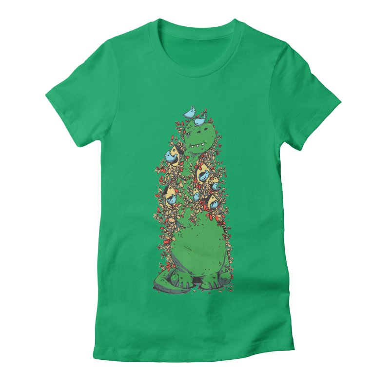 Dino Tree Women's Fitted T-Shirt by Chris Williams' Artist Shop