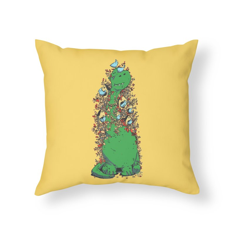 Dino Tree Home Throw Pillow by Chris Williams' Artist Shop