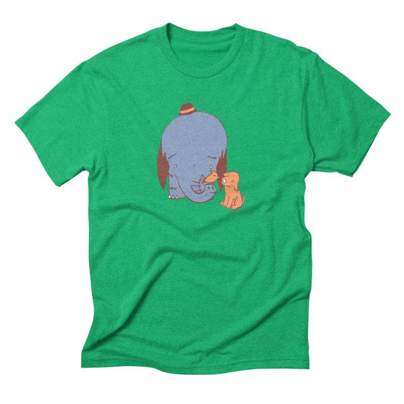 Elephant, Dog, Friends Men's Triblend T-Shirt by Chris Williams' Artist Shop