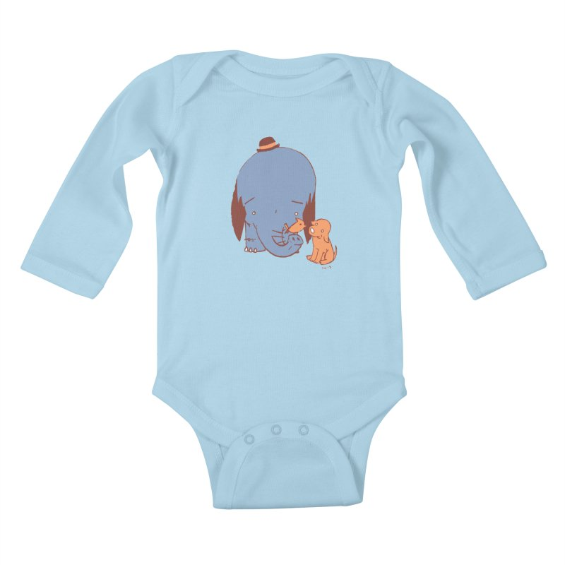Elephant, Dog, Friends Kids Baby Longsleeve Bodysuit by Chris Williams' Artist Shop