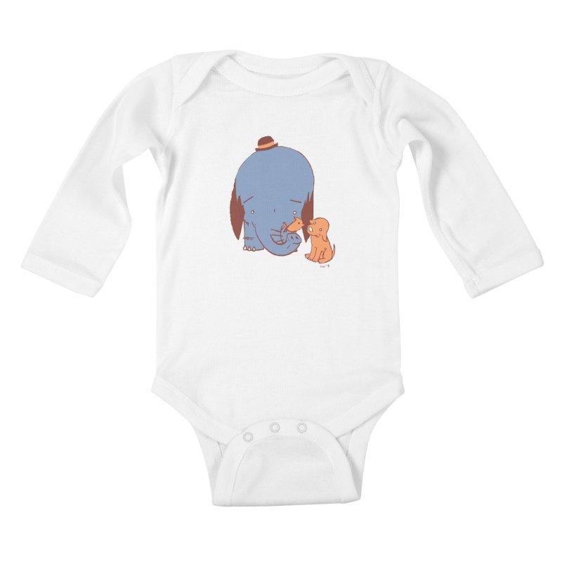 Elephant, Dog, Friends Kids Baby Longsleeve Bodysuit by Chris Williams' Artist Shop