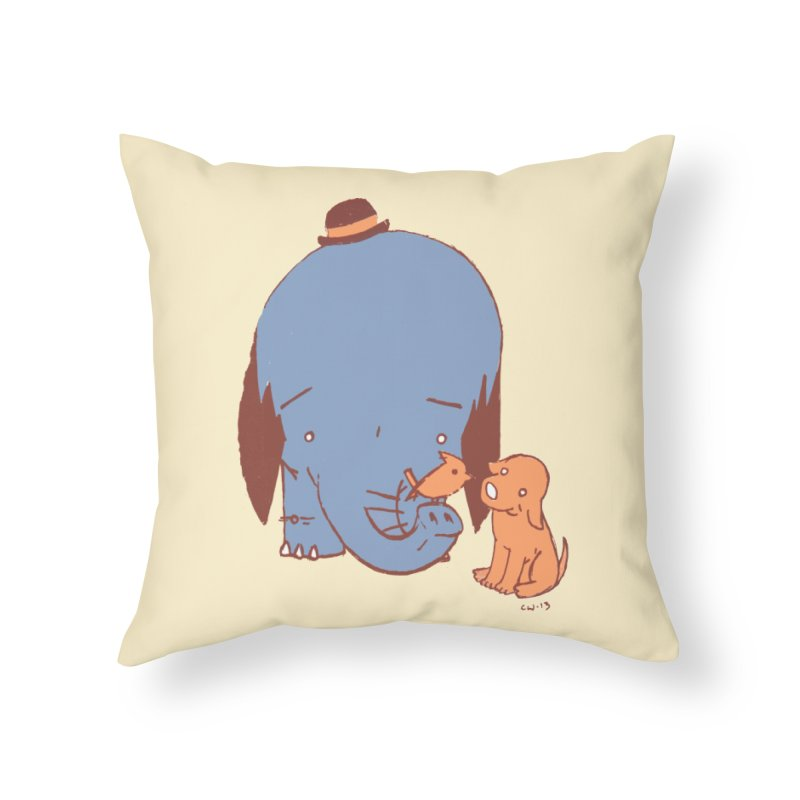 Elephant, Dog, Friends Home Throw Pillow by Chris Williams' Artist Shop