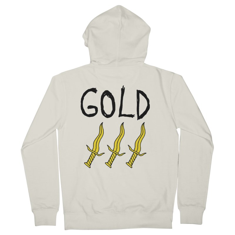 Gold Daggers Women's French Terry Zip-Up Hoody by Chuck McCarthy's Artist Shop