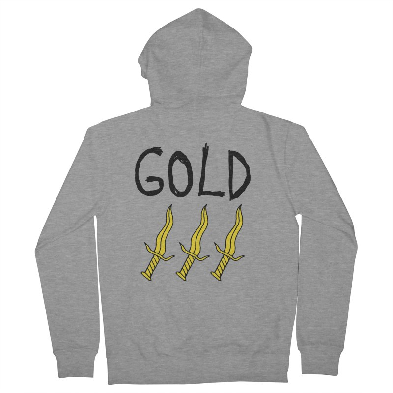 Gold Daggers Men's French Terry Zip-Up Hoody by Chuck McCarthy's Artist Shop