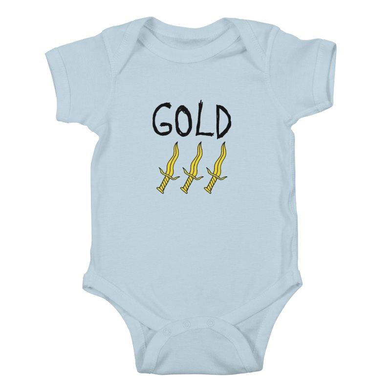 Gold Daggers Kids Baby Bodysuit by Chuck McCarthy's Artist Shop