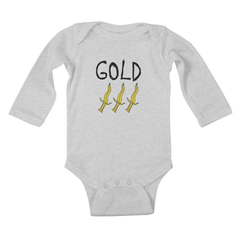 Gold Daggers Kids Baby Longsleeve Bodysuit by Chuck McCarthy's Artist Shop
