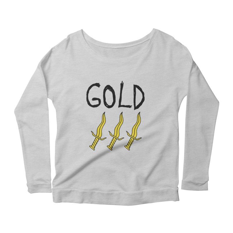 Gold Daggers Women's Longsleeve Scoopneck  by Chuck McCarthy's Artist Shop