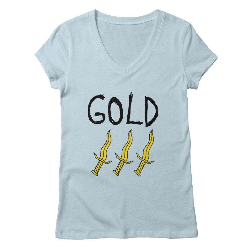 Gold Daggers Women's V-Neck by Chuck McCarthy's Artist Shop