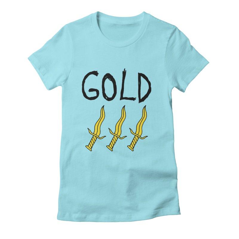 Gold Daggers Women's Fitted T-Shirt by Chuck McCarthy's Artist Shop
