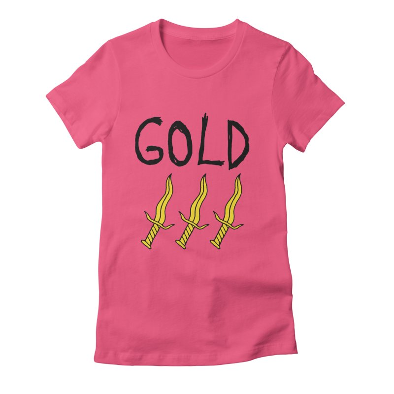 Gold Daggers Women's Fitted T-Shirt by Chuck McCarthy's Artist Shop