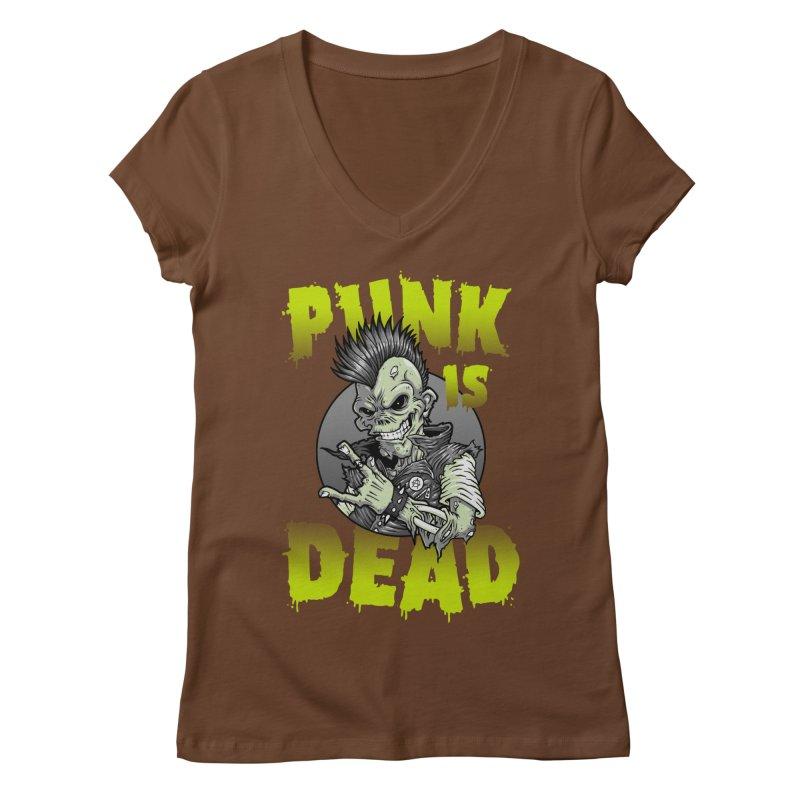 Punk Is Dead Women's V-Neck by chumpmagic's Artist Shop