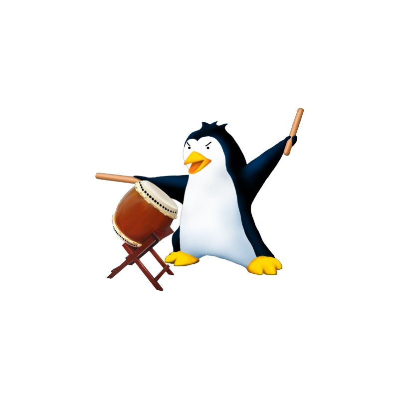 Taiko Penguin (Naname) Men's T-Shirt by Chung's Musical Penguins