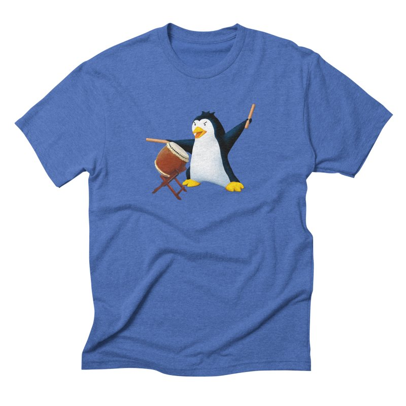 Taiko Penguin (Naname) Men's Triblend T-Shirt by Chung's Musical Penguins