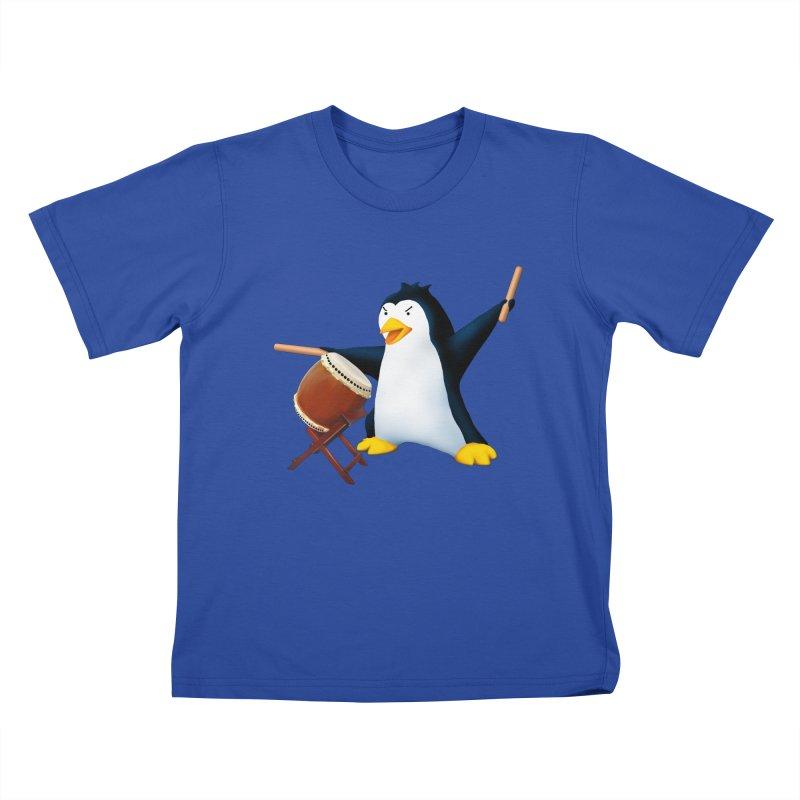 Taiko Penguin (Naname) Kids T-Shirt by Chung's Musical Penguins