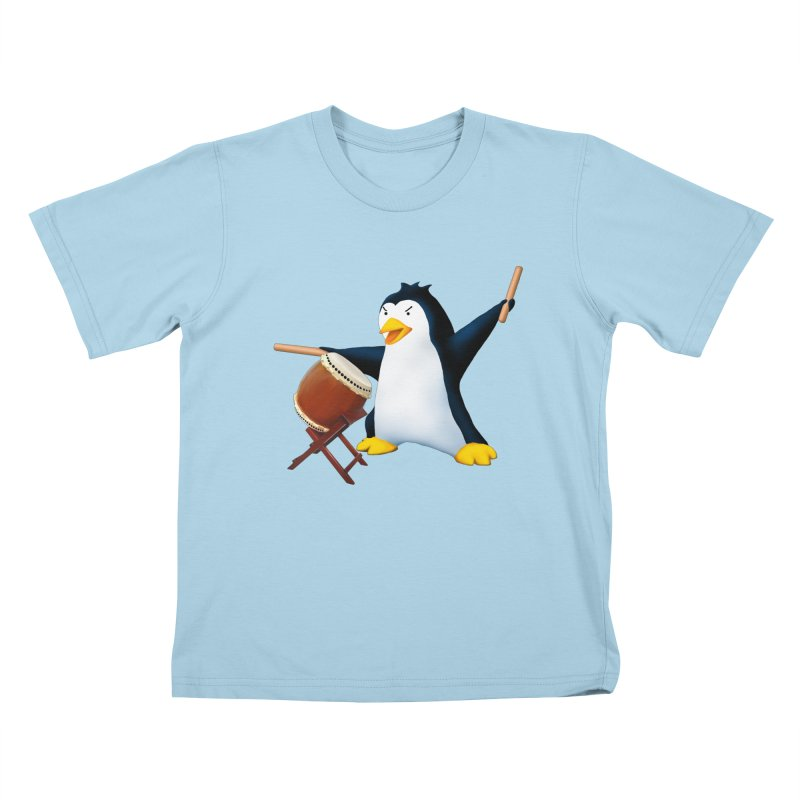 Taiko Penguin (Naname) Kids T-Shirt by Chung's Musical Penguins