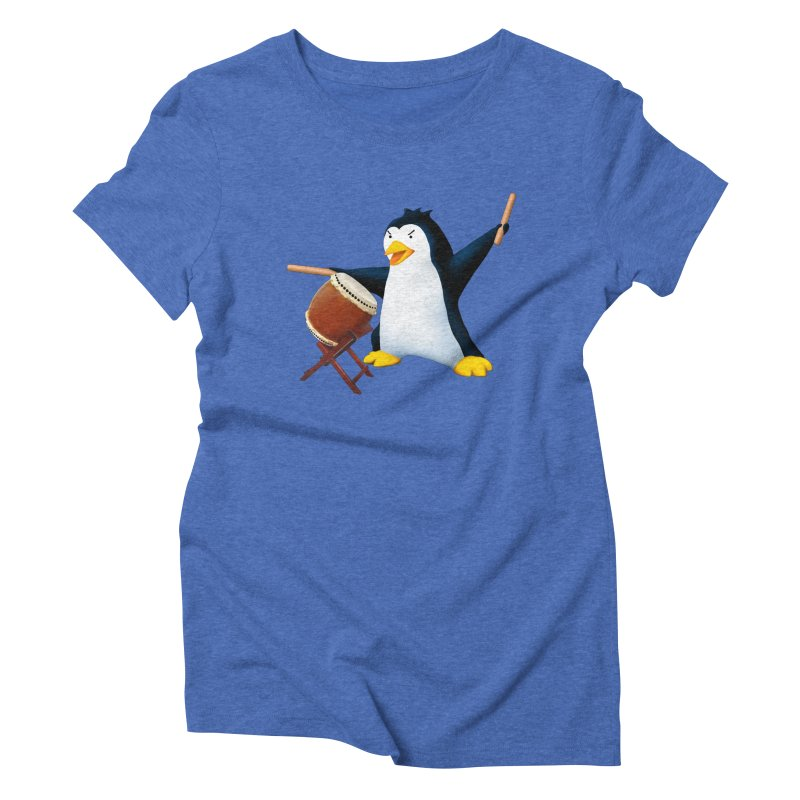 Taiko Penguin (Naname) Women's Triblend T-Shirt by Chung's Musical Penguins