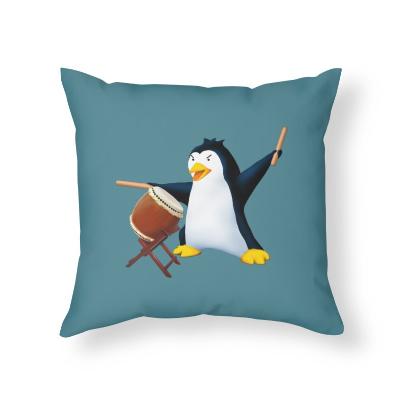 Taiko Penguin (Naname) Home Throw Pillow by Chung's Musical Penguins