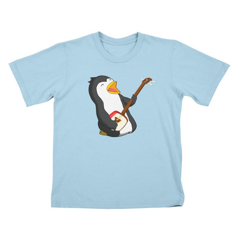 Shamisen Penguin Kids T-Shirt by Chung's Musical Penguins