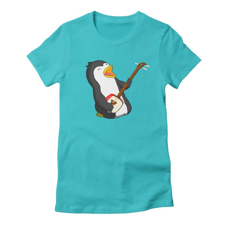 Shamisen Penguin Women's Fitted T-Shirt by Chung's Musical Penguins