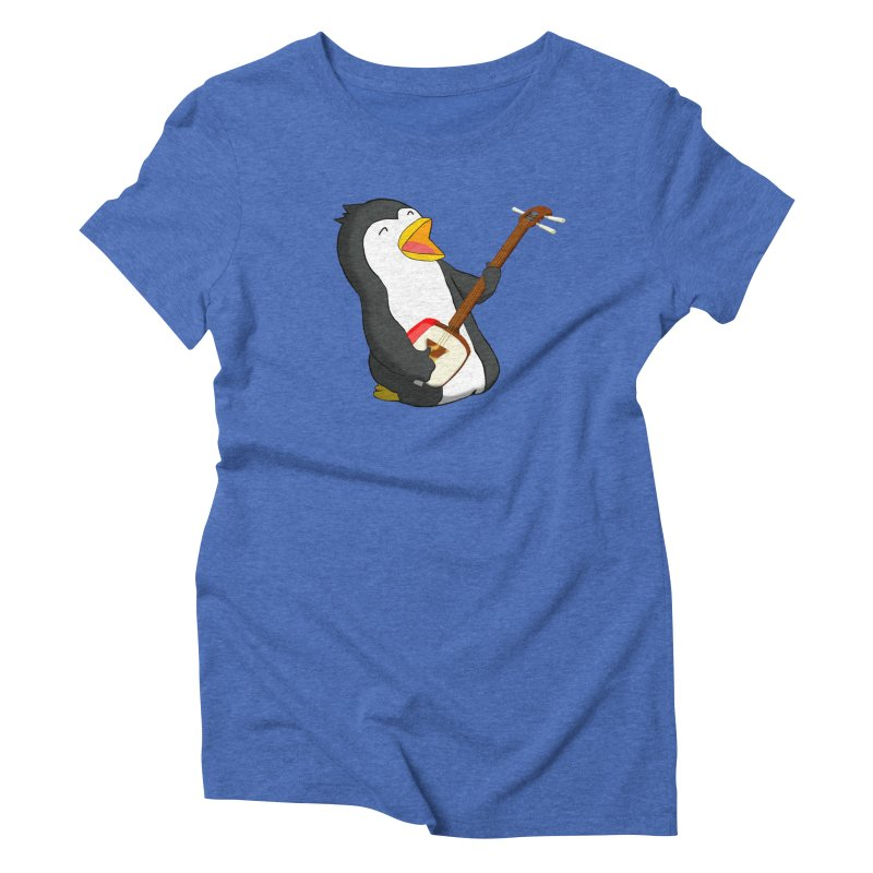 Shamisen Penguin Women's Triblend T-Shirt by Chung's Musical Penguins
