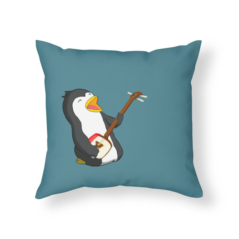 Shamisen Penguin Home Throw Pillow by Chung's Musical Penguins