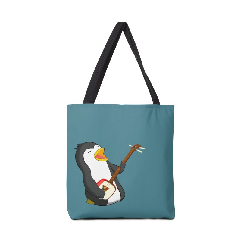 Shamisen Penguin Accessories Tote Bag Bag by Chung's Musical Penguins