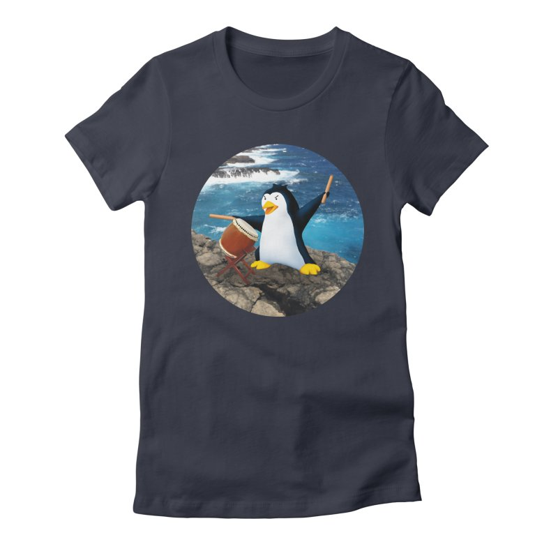 Taiko Penguin (Naname) Ocean ver. Women's Fitted T-Shirt by Chung's Musical Penguins