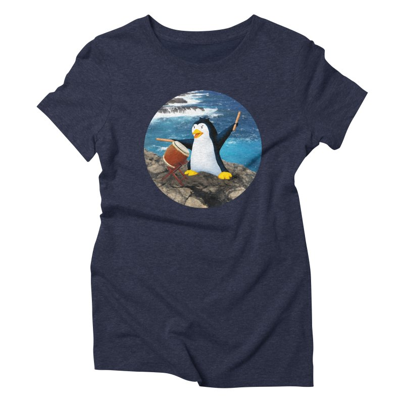 Taiko Penguin (Naname) Ocean ver. Women's Triblend T-Shirt by Chung's Musical Penguins