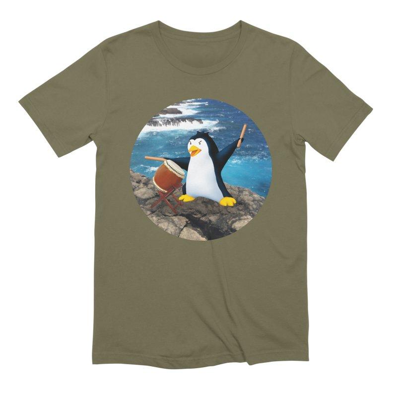Taiko Penguin (Naname) Ocean ver. Men's Extra Soft T-Shirt by Chung's Musical Penguins