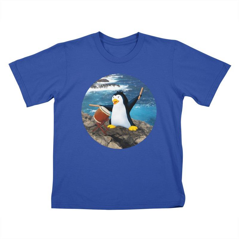Taiko Penguin (Naname) Ocean ver. Kids T-Shirt by Chung's Musical Penguins